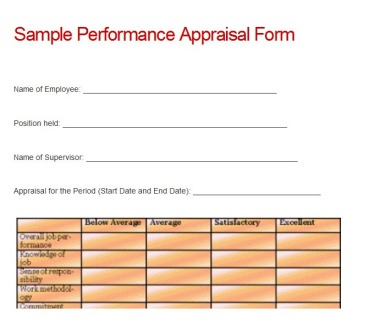 Sample Performance Appraisal Form  Yipe Log